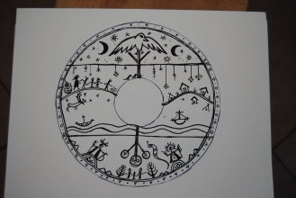 saami drum inspired drawing on paper