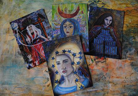 set of 4 cards - goddess artwork - innana hathor